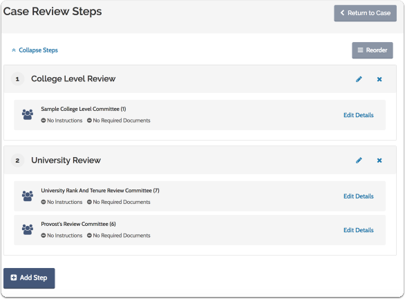 Set up the workflow of case review steps for the case
