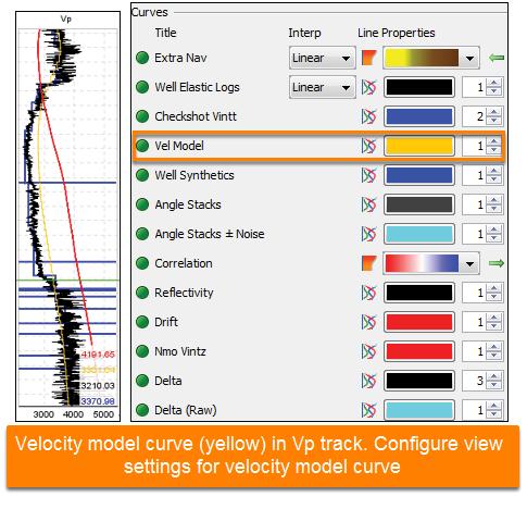 View velocity model curve