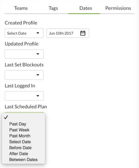 Date filter options
