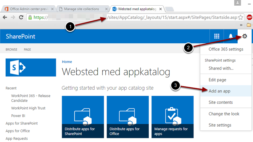 Installing the WorkPoint 365 app to the App Catalog Site Collection