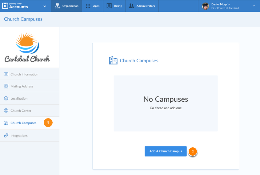 Organization Page with Church Campus tab highlighted