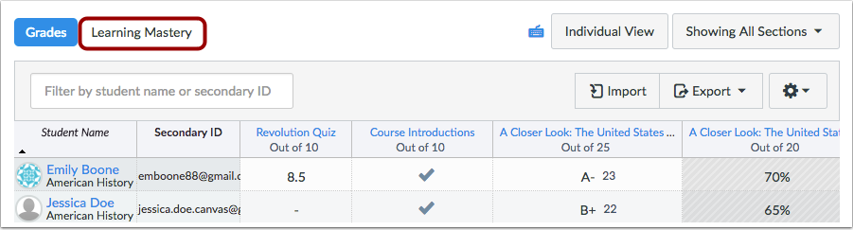 Abrir el Libro de calificaciones del dominio de aprendizaje