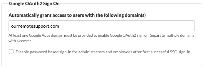 Configuring Google OAuth2 Sign On