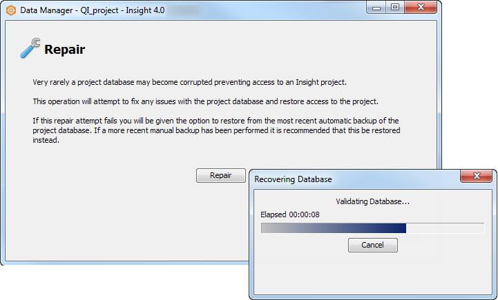 Repair project database