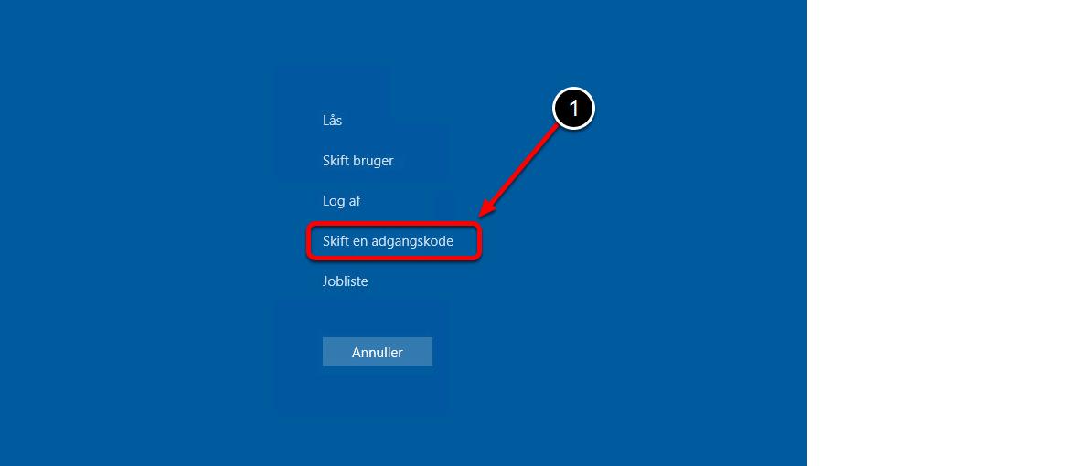 Når du er logget på din PC: tryk på Ctrl + Alt+ Del tasterne