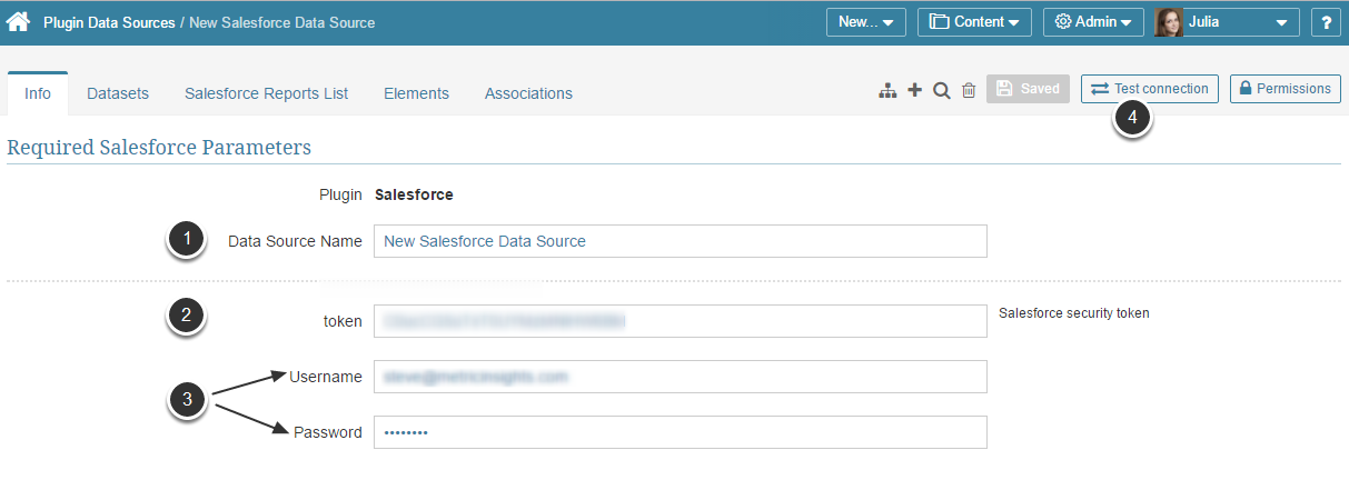Provide the Required Salesforce Parameters