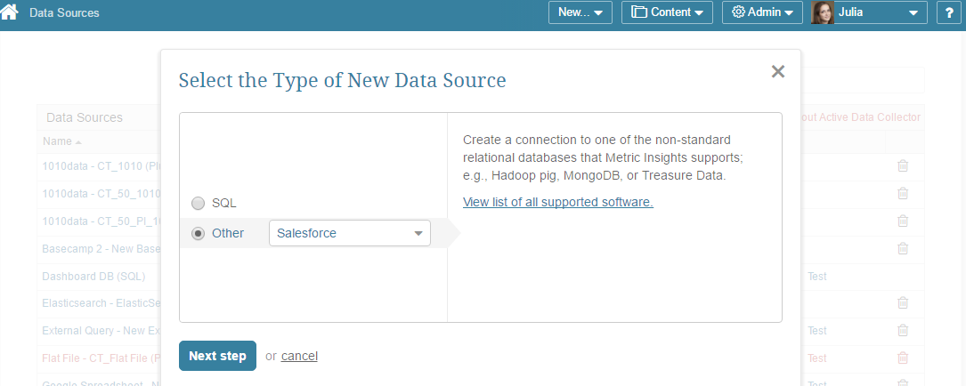 """Select """"Other"""" Data Source Type and choose """"Salesforce"""" from the drop-down list"""