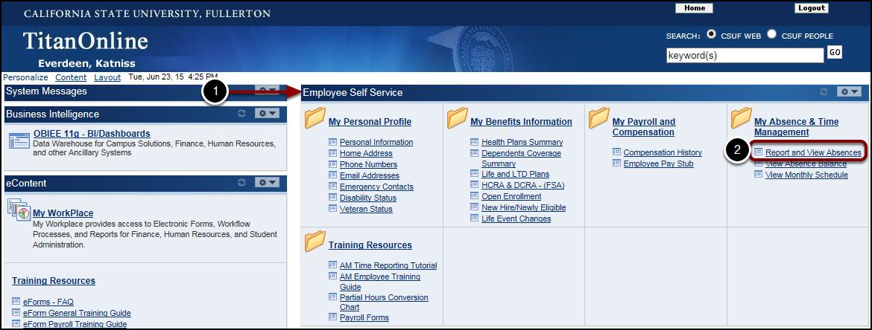 Employee Self Service on Titan Online