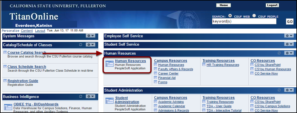 Human Resources section of Titan Online