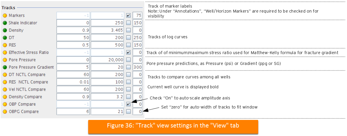 Track view settings