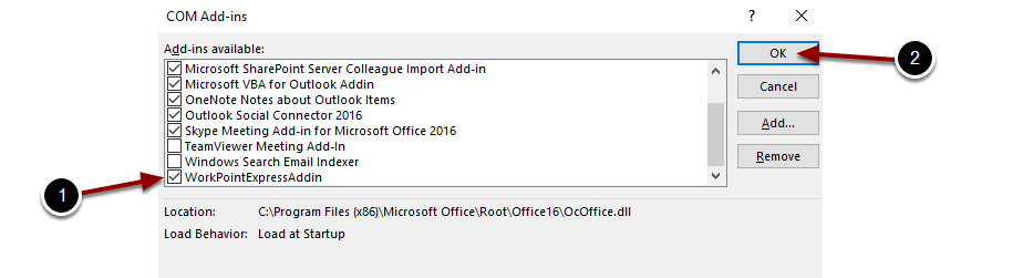 WorkPoint Express is not loaded in Outlook 2010/2013/2016