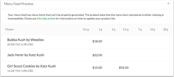 Menu Feed Setup For Leafly Beta Service Help Center