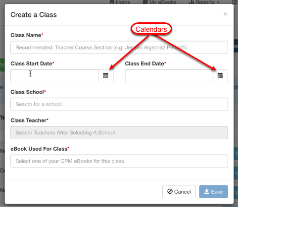 Click the BLUE button 'Create a new Class'. Complete the form as described in notes below.