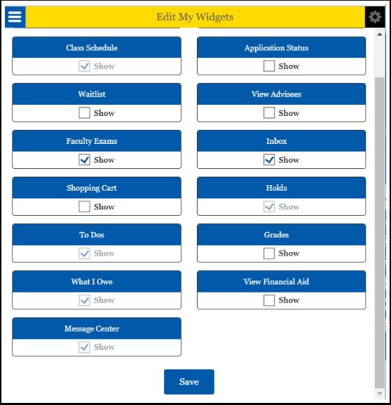 Edit My Widgets Dashboard