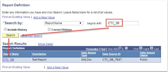 Report Definition page