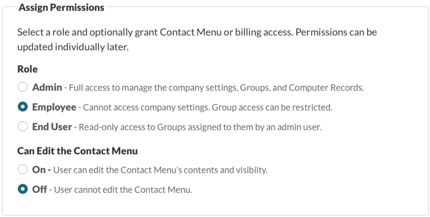 Enter Information and Set Permissions