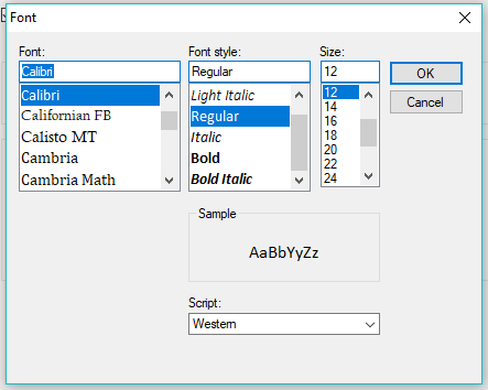 Select the Desired Font