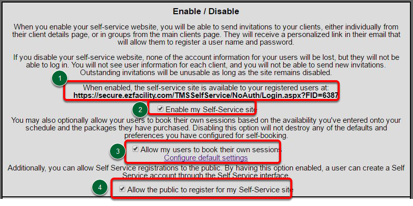 Self-Service Website & Enable/Disable Options