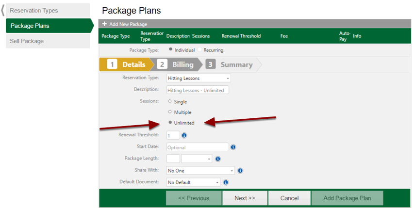 Setting Up Package Plans (Unlimited)