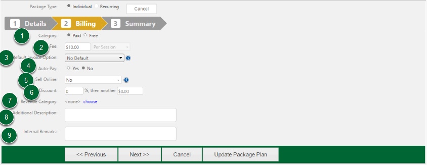 Setting Up Package Plans (Single) Continued