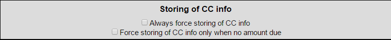 Storing of CC Information