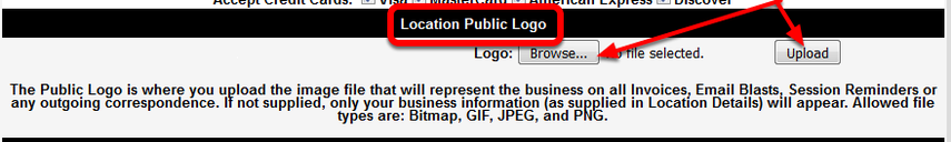 The Location Public Logo, once uploaded, will appear on all correspondence, including the ID Cards