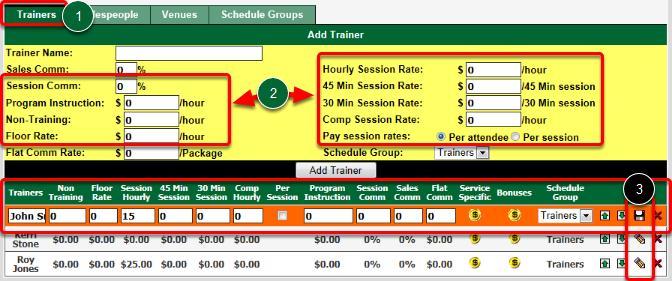 Set Trainer's Default Session Commission Rates