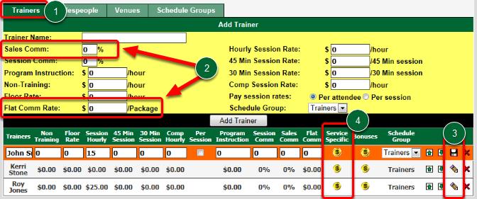 Set Trainer's Default Sales Commission Rates