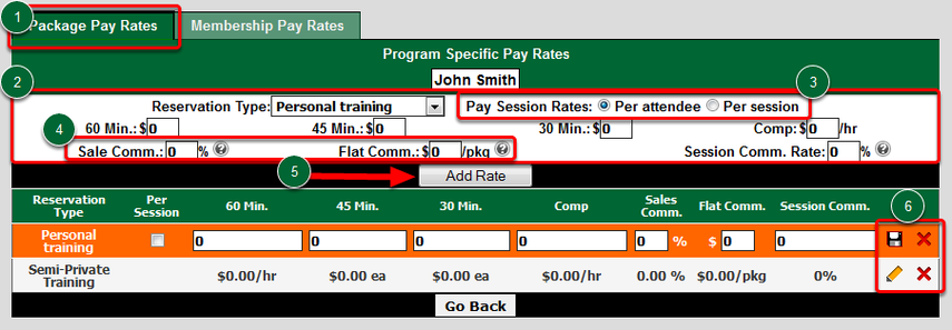 Set Trainer's Service-Specific Session Pay Rates and Package Sales Rates