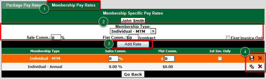 Set Trainer's Membership-Specific Pay Rates