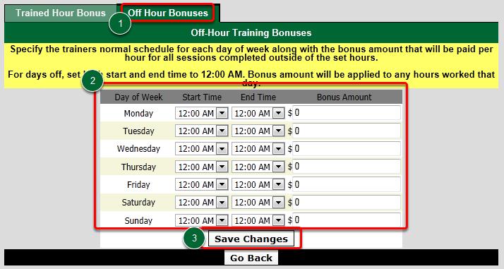 Set Trainer's Off-Hour Bonuses