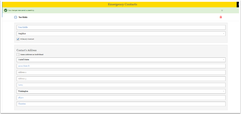 Completed Emergency Contacts screen