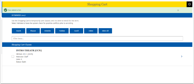 Shopping Cart Complete page