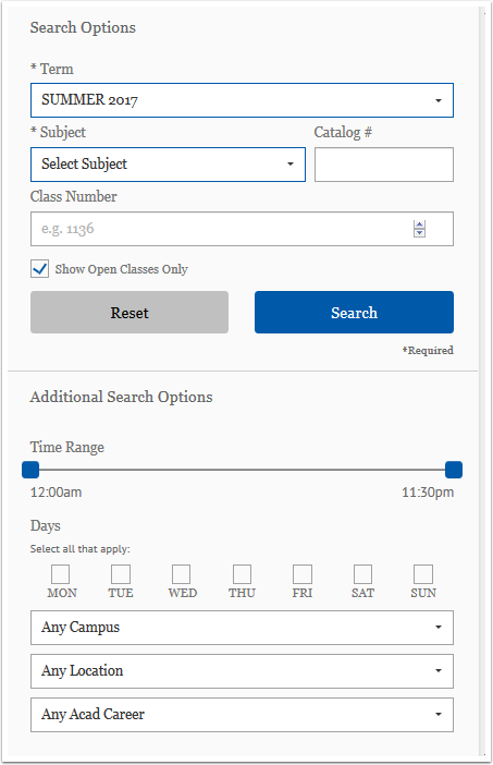 Search Options page