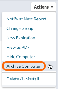 Actions > Archive Computer