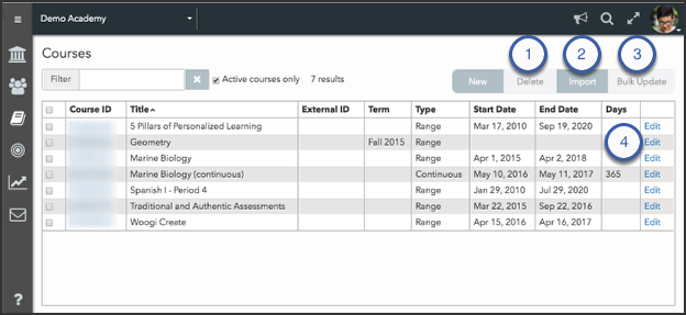 Manage existing courses