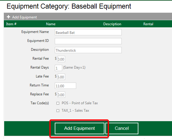 Enter Equipment Details