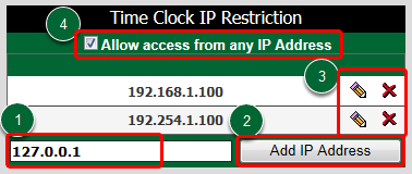 Time Clock IP Restriction