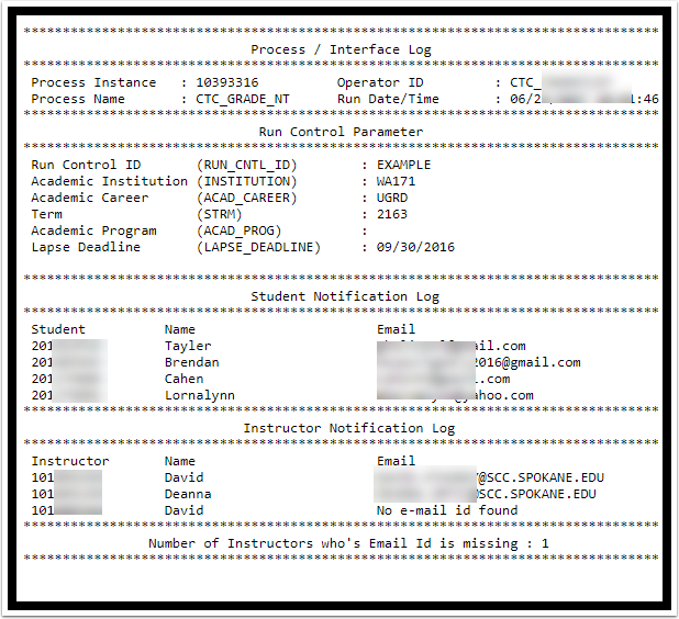 Process / Interface Log