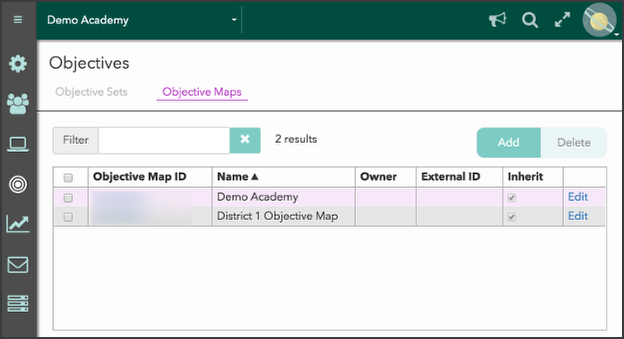 Correlate objectives within the objective map