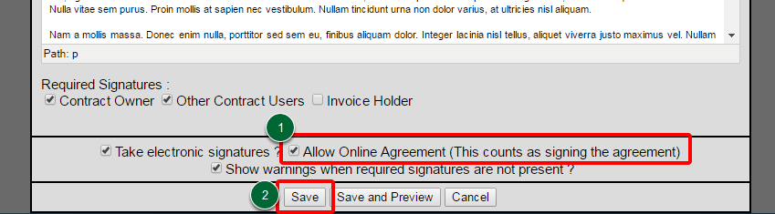 Allow Online Agreement
