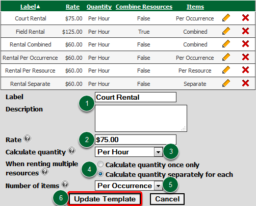 Fill in the Rental Rate Template
