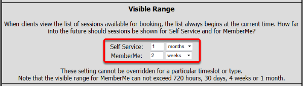 Visible Booking Range
