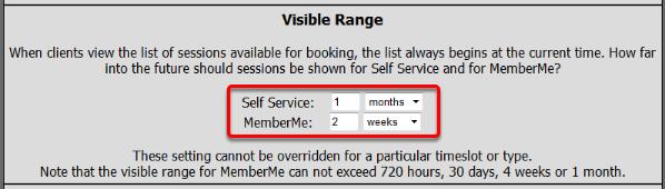 Visible Booking Range