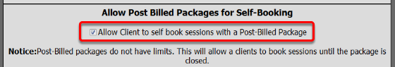 Allow Post Bill Packages