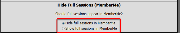 Hide Full Sessions (MemberMe)
