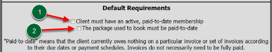 Default Booking Requirements