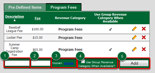 Create a Program Fee