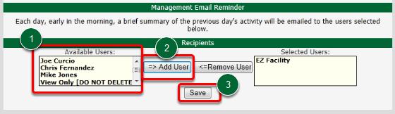 Management Email Reminder