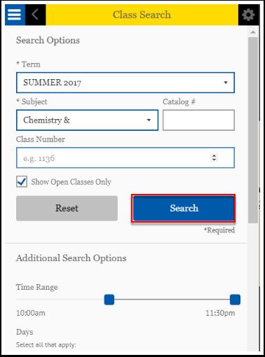 Class Search Search button